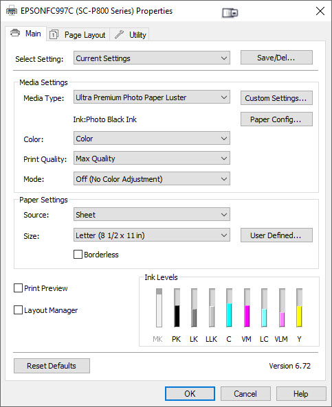 Baryta & Platine Photo Black Settings - Epson Printer Driver for Windows