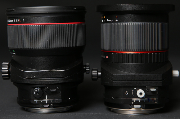 The cheapo gray knobs on the Rokinon (right) sucked - a lot - in real world use